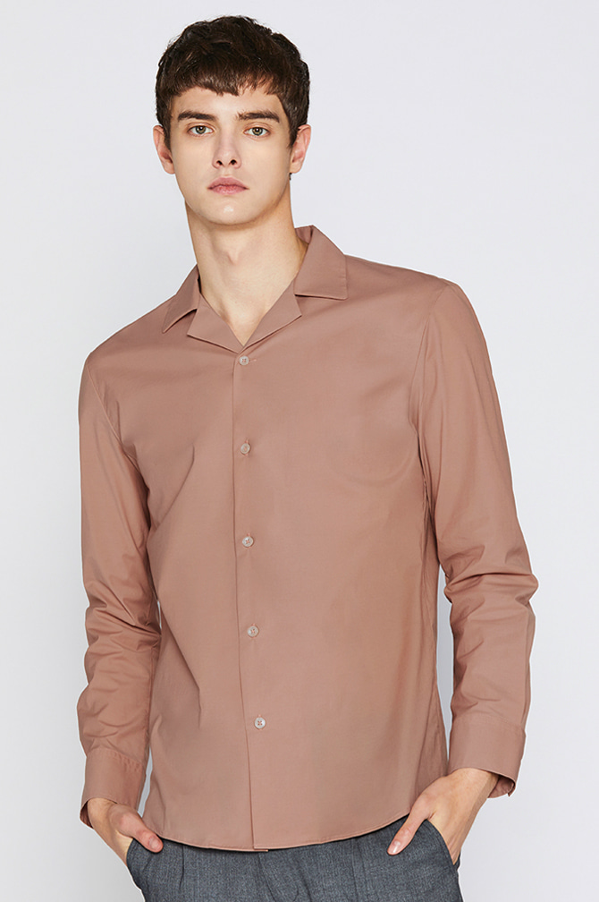 SOLID OPEN COLLAR SHIRTS