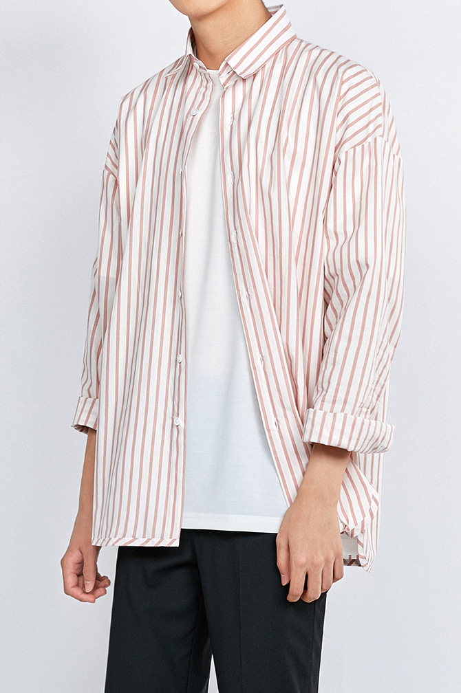 FORMAL STRIPE OVER FIT SHIRTS클린한 느낌의 셔츠