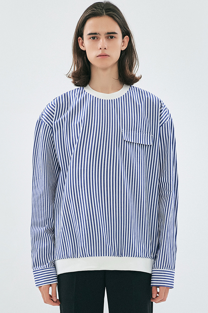 FAKE POCKET STRIPE PULLOVER SHIRTS