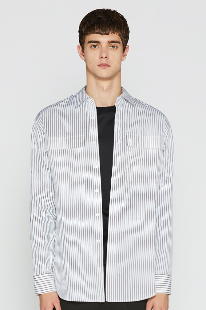 17FW Two pocket Stripe Over Shirts