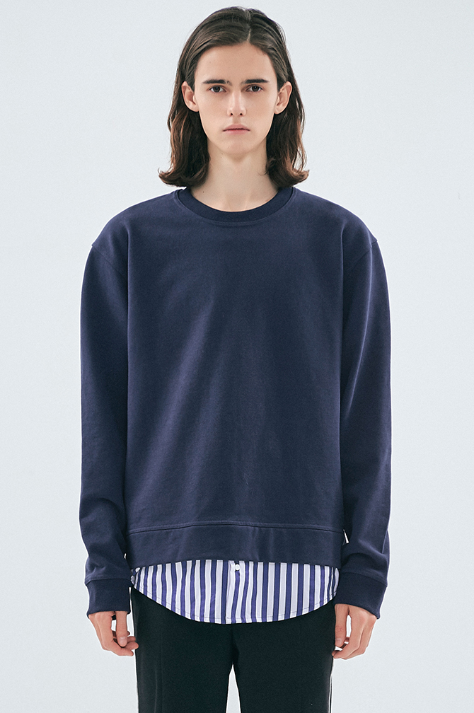 SHIRT-LAYERED SWEATSHIRT