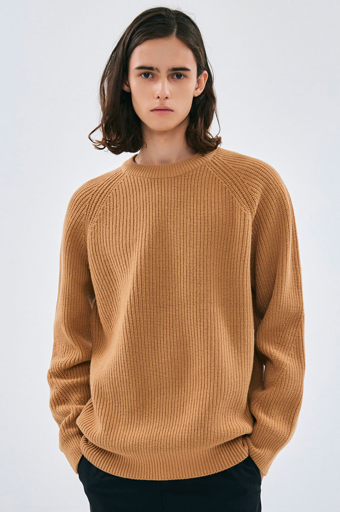18FW LAMB'S WOOL CREW NECK KNIT